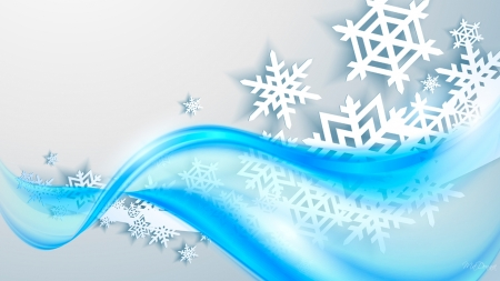 Winter Wave - holidays, winter, cyan, 3D, dimensinal, snow, snowflakes, aqua, blue