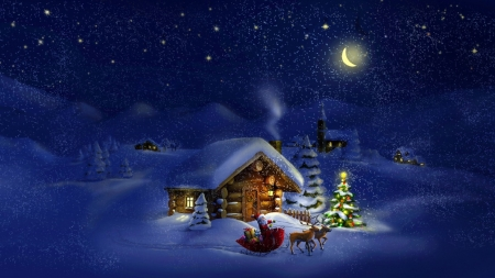 Christmas Cabin - stars, artwork, winter, santa, holy, moon, snow, painting, night