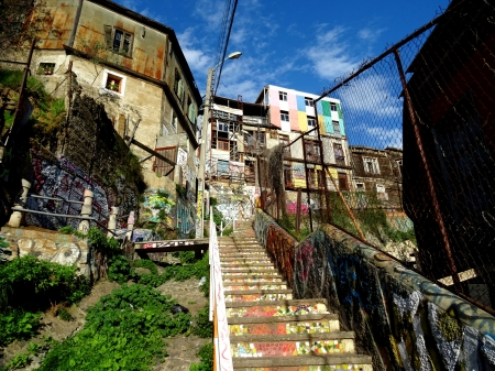Artsy Side Street - colorful, derelict, stair, buildings, graffiti, abandoned