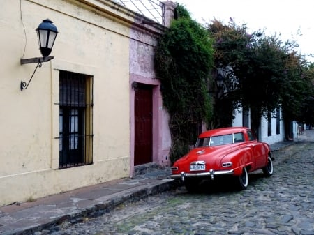Old Times - cobblestone, oldtimes, colonial, car