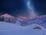 Starry Sky over Snowy Landscape