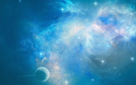 Blue space - cosmos, nebulae, blue, planet, white, space