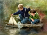 Boys With Toy Sailboat