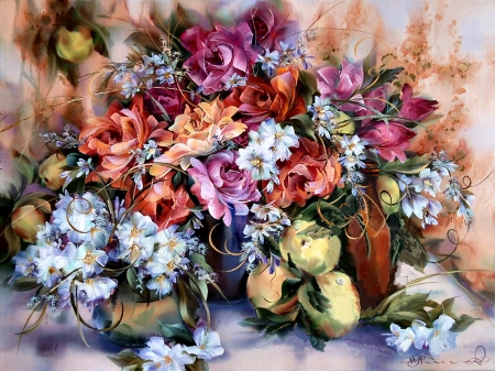 Bouquet Still Life - art, romance, rose, beautiful, artwork, floral, fruit, still life, bouquet, love, peaches, painting, wide screen, flower, beauty