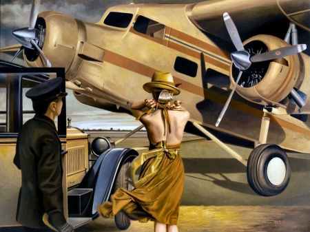 Travel by Air - art, flight, aviation, airlines, scenery, wide screen, beautiful, artwork, painting