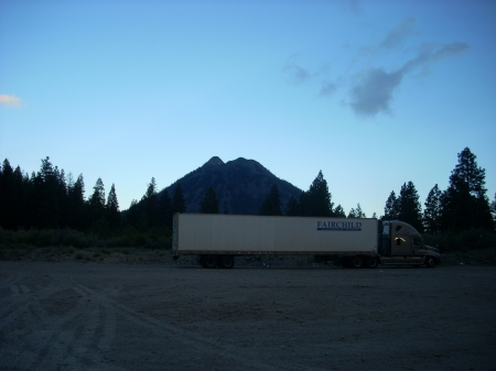 Semi Truck Under The Evening Sky - forest, semi trucks, trucks, big rigs, evening, volcano, blue