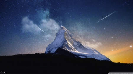 Milky Way Mountain - stars, nature, sky, mountains