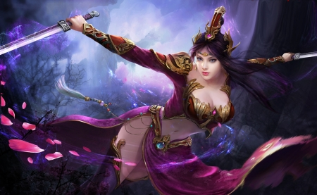 Beautiful Warrior - warrior, purple, girl, beautiful, sexy, sword