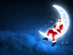 Santa relaxing on the moon