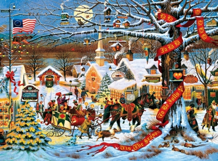 Tis The Season to be Jolly - banner, sleigh, holidays, christmas, church, horse, flag, winter, tram, tree, moon, snow, presents, toys
