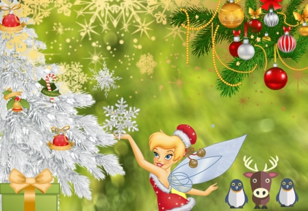 tinkerbell celebrates christmas 3d and cg abstract background