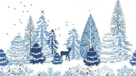 Winter Blue - buck, trees, abstract, deer, winter, leaves, snow, snowflakes, blue and white, Firefox Persona theme