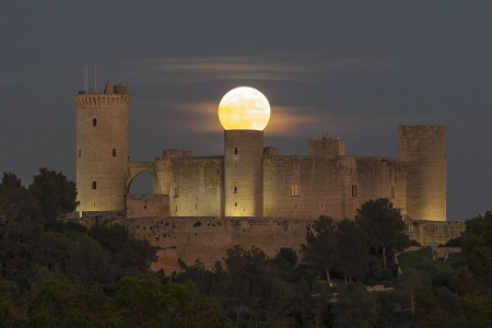 Supermoon over Spanish Castle - fun, cool, castle, moon, architecture, space