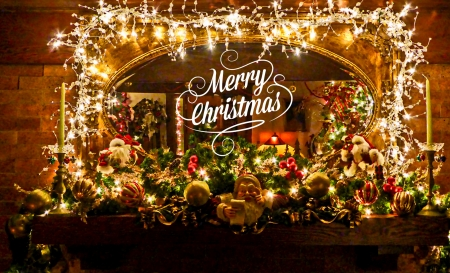 Christmas Mantel - Christmas, Holidays, Decorations, Lights, Nature