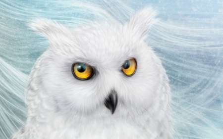 Snowy owl - owl, luminos, yellow, alenaekaternburg, snowy, winter, fantasy, bufnita, white, eyes, blue