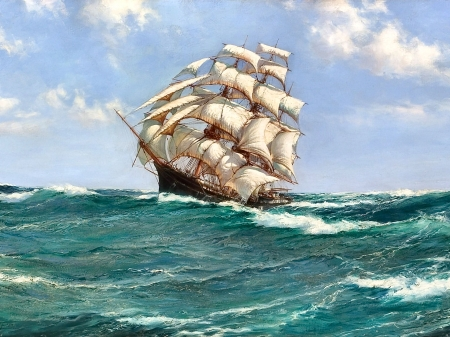 Pitching Sea F - art, waves, sea, high seascape, scenery, ocean, wide screen, beautiful, artwork, sailing ship, painting