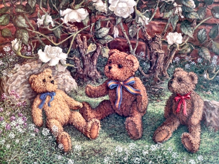 Teddy Bears and Roses F - art, romance, beautiful, roses, illustration, artwork, floral, teddy bears, stuffed animals, painting, wide screen, flowers, toys