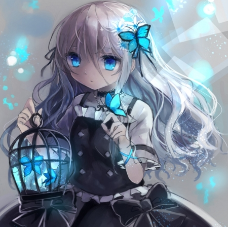 Glow - pretty, glow, white hair, beautiful, woman, sweet, anime, beauty, anime girl, long hair, blue, female, lovely, butterflies, cute, girl, birdcage, lady