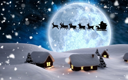 •ღ✿ღ• - art, fantasy, santa, moon, christmas, winter