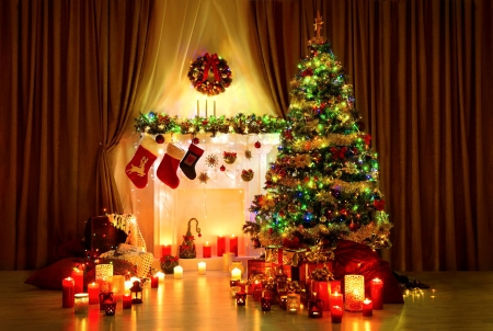 Christmas Lights - colors, ornaments, tree, candles