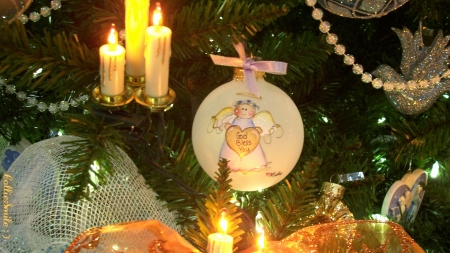 God Bless You (Ornament) At Christmas! : ) - sparkling, ornaments, Christmas Tree, angel, candles, sparkles, noe1, garland, bird, dove, beads, ornament