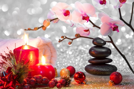 Christmas spa - christmas, decoration, beautiful, candles, winter, orchids, stones, balls, spa, flowers, arrangement
