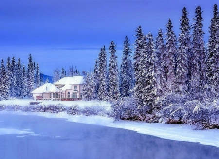 Winter Home - white trees, houses, love four seasons, home, attractions in dreams, xmas and new year, winter, snow, nature, rivers