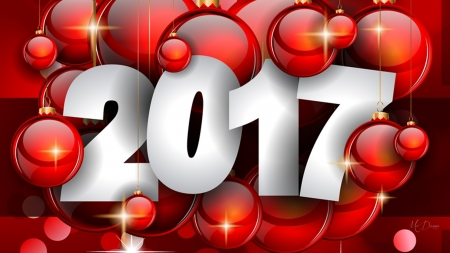2017 in Red - Christmas, red, holiday, New Year, decorations, 2017