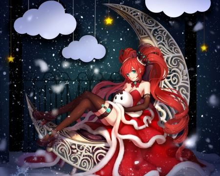 Red Christmas - dy, red, pretty, hd, beautiful, adorable, xmas, sweet, nice, twin tail, anime, hot, beauty, anime girl, long hair, star, female, cloud, lovely, twintail, christmas, twintails, sexy, twin tails, cute, kawaii, girl, merry christmas, crescent, lady, maiden