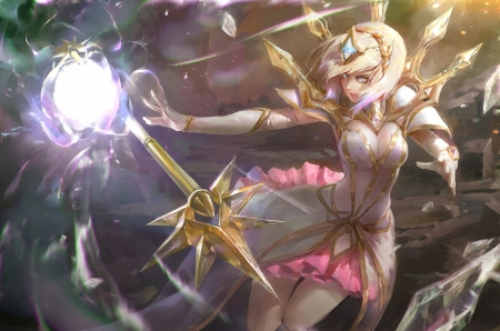 Lux - videogames, female, dress, golden, blonde hair, beautiful, magic, woman, gloves, tiara, lady, white, magician, pink, light
