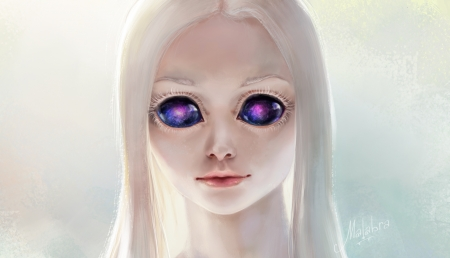 Alien - art, luminos, fantasy, girl, purple, alien, white, eyes, malabra