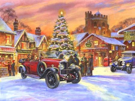 snowy landscape christmas holidays christmas tree old cars love four seasons