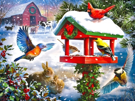 Winter gathering - pretty, birds, fun, winter, sweet, farm, cute, gathering, snow, snowflakes, snowfall, birdhouse, feast, animals