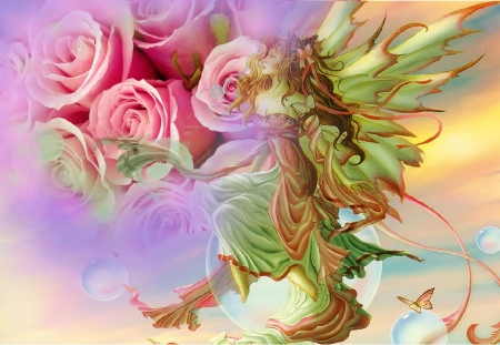 Delicate world - fantasy, gentle, fairies, soft, roses, abstract, sweet