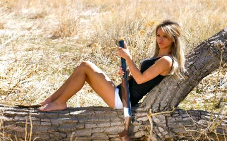Open Range.. - female, models, cowgirl, boots, ranch, fun, outdoors, women, paige wyatt, guns, rifle, NRA, girls, blondes, western, style
