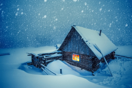 Wooden house in winter forest - forest, house, winter, cold, snow, snowflakes, snowfall, wooden, frost