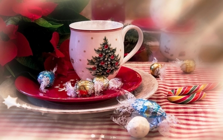 Cup - red, Christmas, candy, holidays, plates, abstract, winter, photography, cup, flower, white