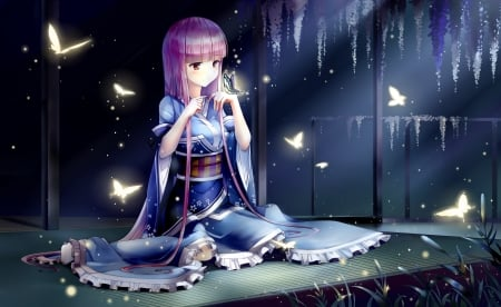Butter Flies - pretty, hd, beautiful, adorable, sweet, nice, japan, butterfly, anime, yukata, beauty, anime girl, long hair, female, lovely, japanese, kimono, cute, kawaii, girl, orientl, pink hair, maiden
