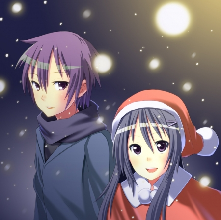 Walking In The Snow - Anime Guy, Ezaki, Anime Couple, Couple, Anime, Santa Outfit, Hanbun no Tuski ga Noboru Sora, Smile, Rika Akiba, Akiba, Yuuichi Ezaki, Yuuichi, Laugh, Lovers, Rika, Big Eyes, Purple Hair, Snow, Anime Girl, Purple Eyes