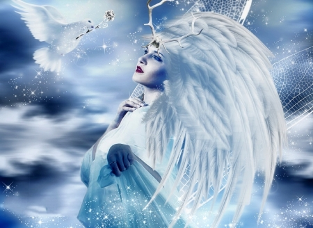 ~New Year Angel~ - wings, love four seasons, creative pre-made, digital art, woman, angels, winter, fantasy, photomanipulation, flying, weird things people wear, dove