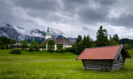 Chloss Elmau,Germany - castle, meadow, clouds, hotel, houses, fog, german, mountains, trees, nature