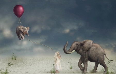 The little girl and the elephants