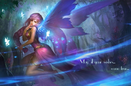Happy New Year - wings, girl, fairies, beautiful, wishes, fairy