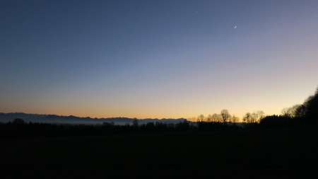 Twilight - moon, twilight, venus, nature
