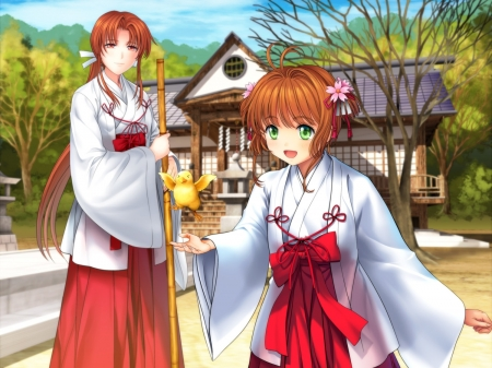 Card Captor Sakura - sakura, miko, japanese, manga, mother, japan, anime, shrine, love, temple, girls