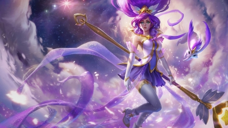 Star Gaurdian Janna - pretty, dress, video games, beautiful, ribbons, clouds, sweet, long hair, star, wings, lovely, golden, purple hair, soft, sky, gaurdian, purple, white