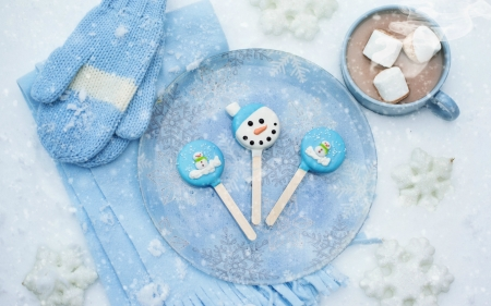 Winter sweets - lollipop, food, winter, sweet, dessert, gloves, snow, cup, white, coca, blue