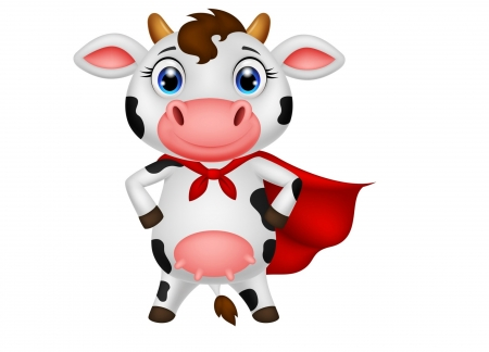 SuperCow - red, super, cow, child, funny, white, pink, animal