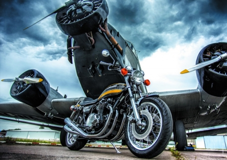 The Need For Speed - plane, speed, kawasaki, flight, military, motorbike, motorcycle, junkers
