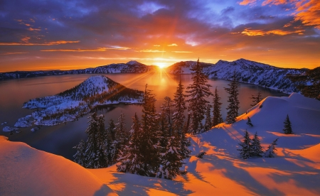 Arclight - amazing, view, fiery, beautiful, sunset, trees, sky, lake, winter, rays, snow, island, reflection, landscape